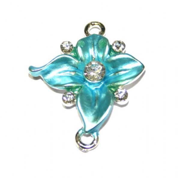 Ipce x 27mm*23mm Ornate turquoise flower connector - enameled alloy charm with rhinestones